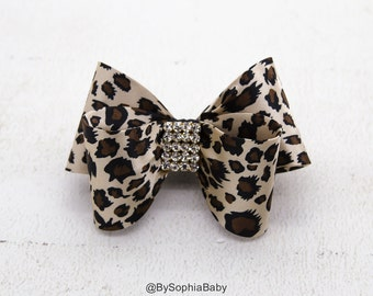 Cheetah Bow, Leopard Bow Hair Clip, Bow Hair Clip, Toddler Cheetah Hair Clip, Girls Bow Hair Clip, Big Bow Hair Clip, Leopard Bow, 1004