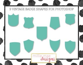 Vintage Sign Shapes for Photoshop, Set of 6 Photoshop Shapes, Sign Shape File for Photoshop.
