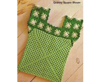 Vintage Crochet Pattern-70s Granny Square Blouse-Bohemian Top- Boho Clothing- Retro-pdf file instructions-Digital Pattern Vtg DIY