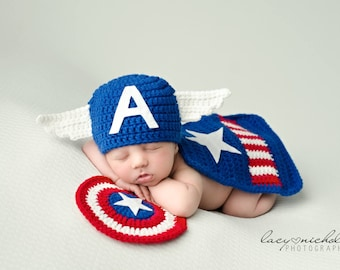 Crochet Newborn Captain America Inspired Hero - Photo Prop