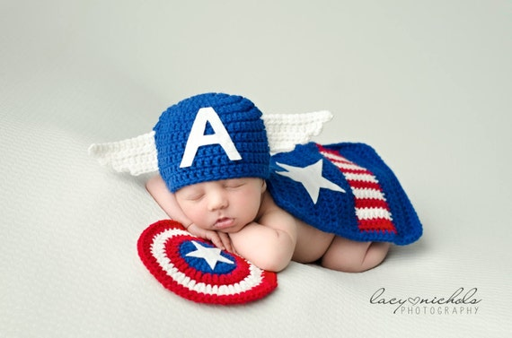 Crochet Newborn Captain America