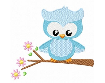 Spring Owl Fill  Machine Embroidery DESIGN NO. 507