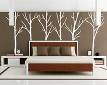 White tree decal-winter tree sticker for house decor-vinal tree of life wall decal-removable large brich tree wall decal for living room