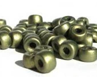 Glass Pony Beads / Crow Beads - 6mm - Matte Olive - Pack 30