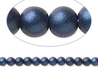 Czech Glass Pearls - 4mm - Dark Blue Satin - 100 Beads