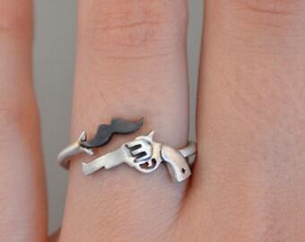 Gun Ring Mustache Ring Pistol Ring Revolver Silver Ring Cowboy Jewelry Mustache Fashion Jewelry Sterling Silver Pistol Ring Cool Funny Ring