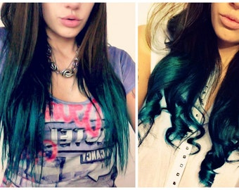 Balayage Dip Dye 8A Remy Ombre Balayage Halo Invisible Wire  Human Hair Extensions  #2 Dark Brown into Turquoise Green