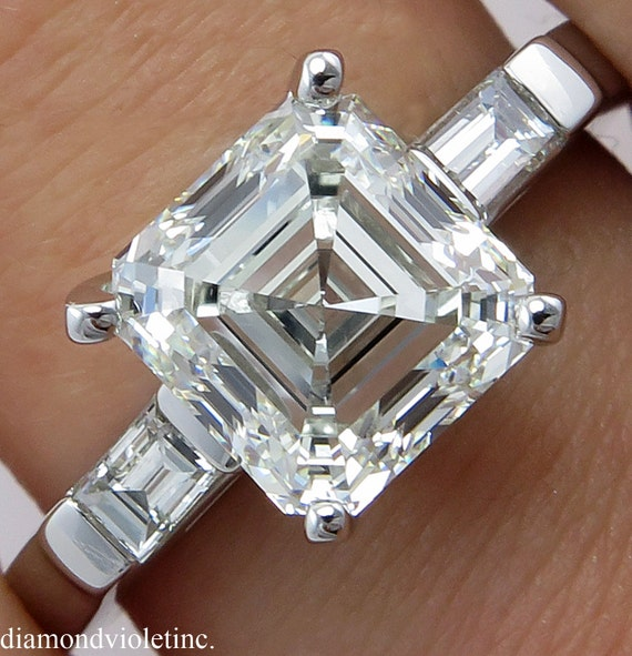 Gia 3 27ct Estate Vintage Asscher Cut Diamond Three Stone