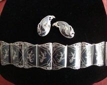 Vintage Siamese Cuff Bracelet and Earrings