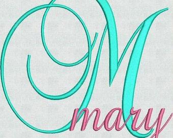 Instant Download  Machine Embroidery Designs Fancy Script Fonts Monogram Alphabet Font Upper And Lower Case 52 Files PES Format