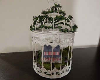 Bird Cage with miniature cottage