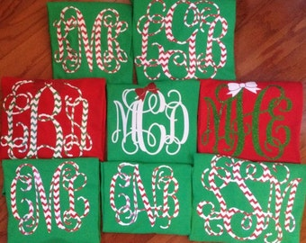 Christmas Monogrammed Long Sleeve Shirt for Youth or Adult