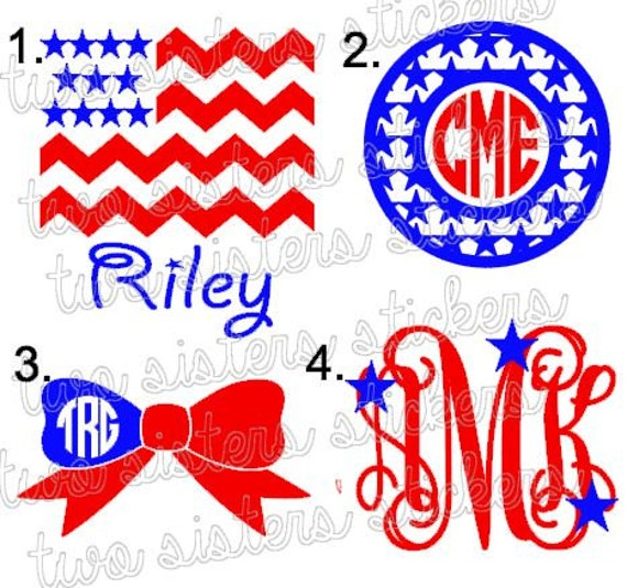 Fourth of July Patriotic Vinyl Monogram Decals