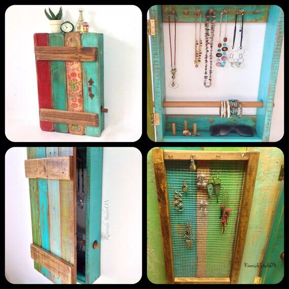Wood Jewelry Organizer Wall Mount Door And Bracelet Bar