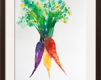 Vegetable watercolor painting-- original watercolor, carrot watercolor, root vegetables illustration, kitchen art