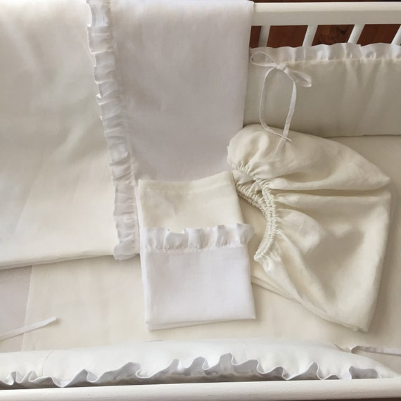 3 Piece Natural Linen Baby Bedding Linen Set From By Madalii