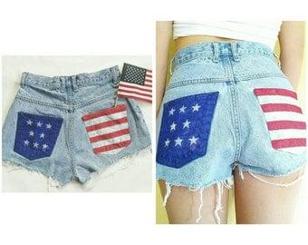 High Waisted Denim USA Shorts - Size 3 Light Wash High Waist Cut Off Shorts - 90's Vintage Cutoff American Flag Shorts - Distressed Shorts