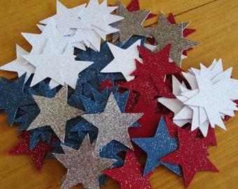Sparkling Red, White & Blue Stars Confetti