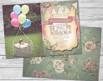 Shabby Chic 1st Birthday Photo Invitation/Vintage 1st Birthday Girl/DIY Printable