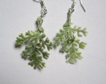 vintage Silver earrings elven fairy branch sheet snow white