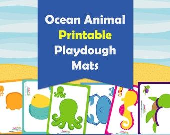 Ocean Animals Playdough Mats