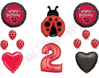 Second 2nd LADYBUG RED POLKA Dots Happy Birthday Balloons Decoration Supplies