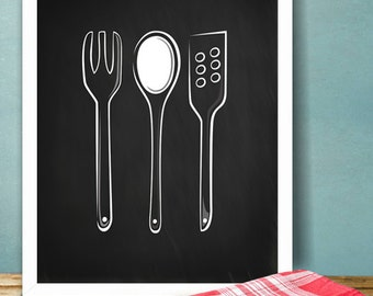 Wooden spoons Kitchen Printable Poster Illustration Graphic Design Print, Chalkboard Kitchen spoon Wall Art Home Decor Gift INSTANT DOWNLOAD