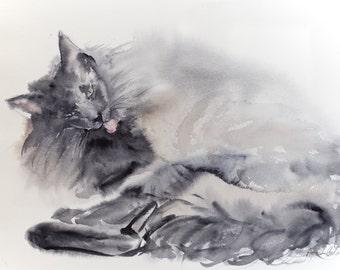 Grooming cat - original watercolor painting