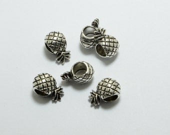 20pcs Pineapple Beads in Antique Silver, 12mm, European Style Large Hole Beads, Side Drilled #SD-S7553