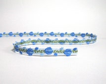 Blue and Green Tulip Woven Cotton Trim