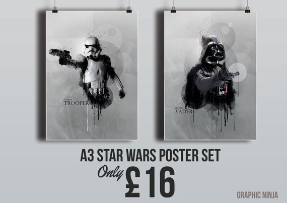"Star Wars inspired Poster Set - Darth Vader & Storm Trooper A3 (11""x16"") Print - Homewall Art"