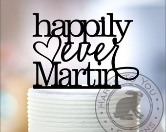 Happily Ever After Wedding Cake Topper 13-203 Personalized with Your Last Name - Custom Wedding Cake Decoration - Happily Ever Name