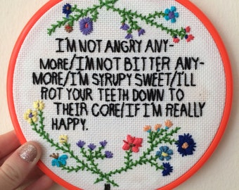 Paramore Interlude//Embroidery hoop art