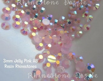 3mm Pink AB Resin Rhinestones, 100pcs, 500pcs, 1000pcs, ss12 Pink AB Resin, nail art, cabochon, kawaii, decoden, DIY decoration, jelly ab