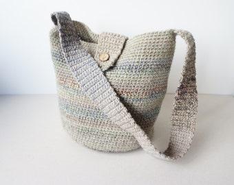 Handmade  Wool Cotton Cross Body Bag /Crochet Hobo Bag / Drops Yarn / Women Beige Grey Green Blue Bag / Everyday Bag