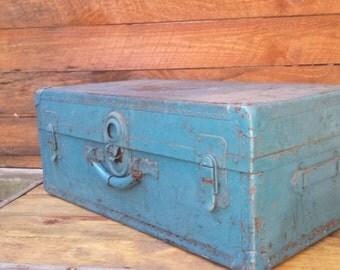 Vintage blue metal trunk