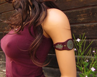 upper arm band ethnic leather bracelet engraved