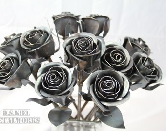 11th Anniversary Gift, 11 Steel Roses, Metal Rose Bouquet, 11th Wedding Anniversary, Steel Anniversary, Eleventh Anniversary Gift