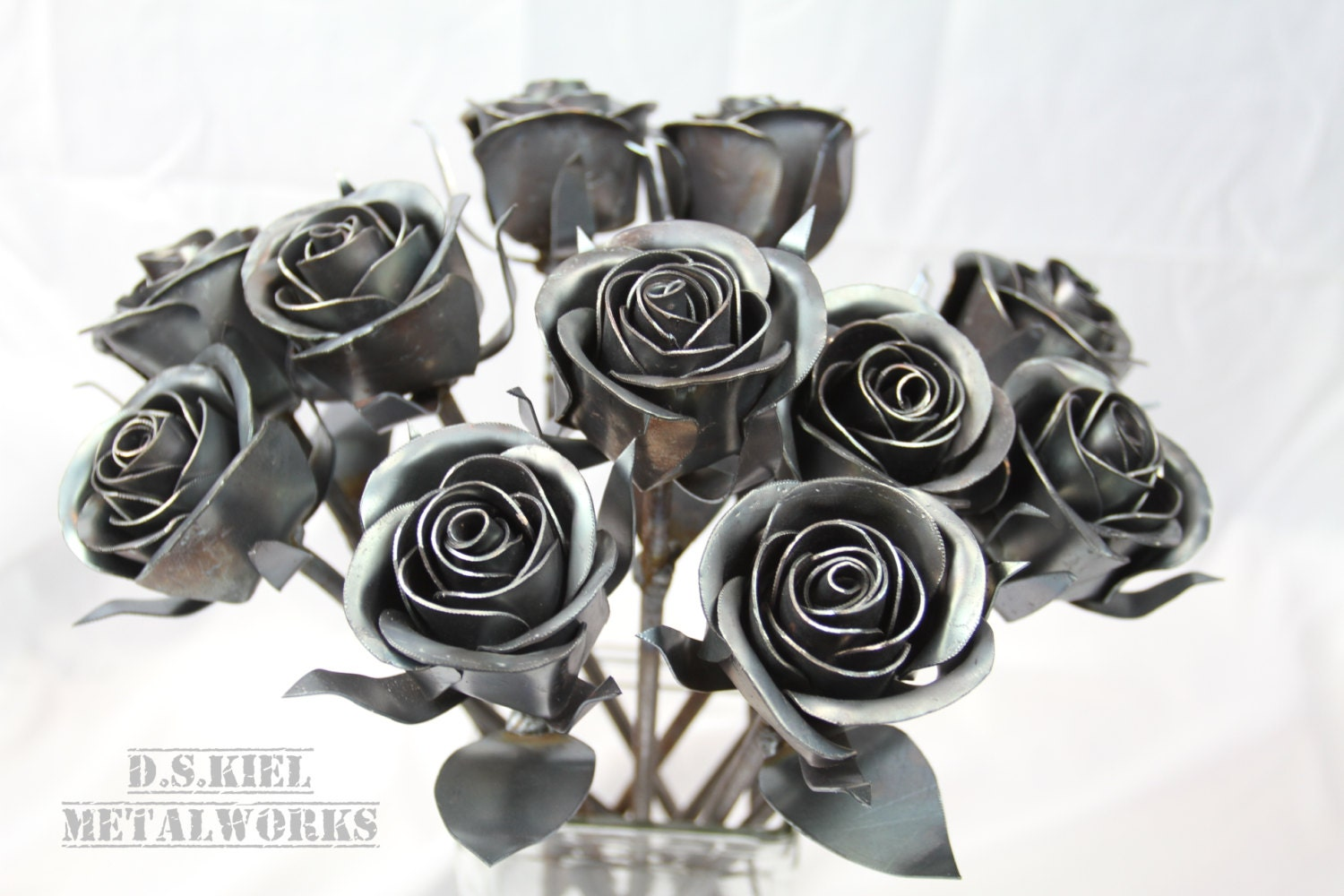 Eleven Steel Rose Bouquet 11th Wedding Anniversary Steel