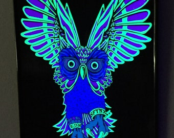 PLUR Owl - Framed Blacklight Screen Print (Free USA Shipping)