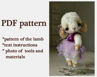 "PATTERN Download to create teddy like Teddy Bear stile Artist viscose vintage Lamb Little princes Eva 8"" handmade collectible Teddy pattern"