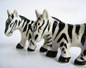 Vintage Occupied Japan Salt and Pepper Shakers Zebra  Black and White Porcelain Zebra Souvenir Decal