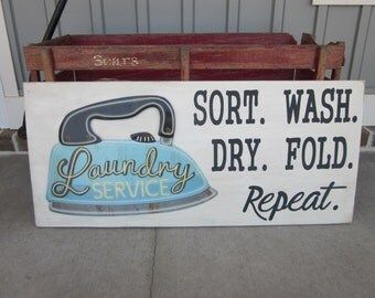 Laundry Room Wood Sign - Sort, Wash, Dry, Repeat. -Custom, Hand Painted- Laundry Art -  Home Decor
