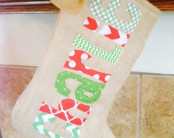 Burlap stockings. Appliqued stockings. Christmas stockings.