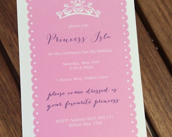 Princess Birthday Party Invitation, 1st, 2nd, 16th etc