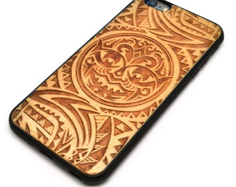 Natural Wood TPU Bumper Case with Polynesian Tattoo Art Design for iPhone 6 Plus - i6pw-013