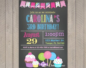 Sweet Shoppe Chalkboard Printable Invitation - Personalized Birthday Party Decorations, Candyland, Cupcake