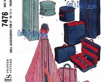 """Vintage1964 PDF Pattern to Make Instant Doll Accessories for Fashion Dolls 8"""" to 11-1/2"""" tall"""