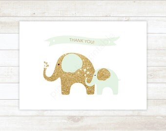 mint and gold glitter printable thank you cards, baby shower mint and gold glitter elephants thank you card - personal use