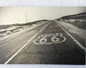 "Route 66 Black and White 12""x18"" Photograph Printed on Brushed Aluminum"